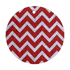 Chevron9 White Marble & Red Denim Ornament (round) by trendistuff