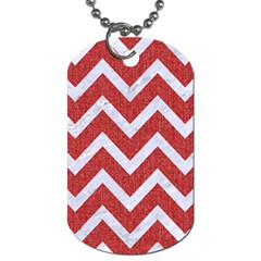 Chevron9 White Marble & Red Denim Dog Tag (two Sides) by trendistuff