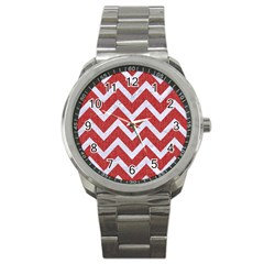 Chevron9 White Marble & Red Denim Sport Metal Watch by trendistuff