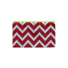 Chevron9 White Marble & Red Denim Cosmetic Bag (xs) by trendistuff