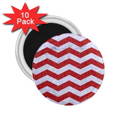 Chevron3 White Marble & Red Denim 2 25  Magnets (10 Pack)  by trendistuff