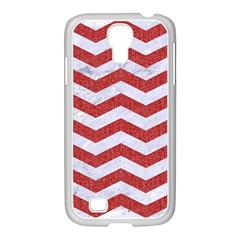 Chevron3 White Marble & Red Denim Samsung Galaxy S4 I9500/ I9505 Case (white) by trendistuff