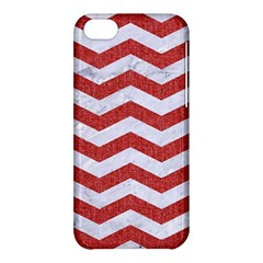 Chevron3 White Marble & Red Denim Apple Iphone 5c Hardshell Case by trendistuff