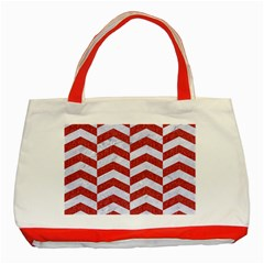 Chevron2 White Marble & Red Denim Classic Tote Bag (red) by trendistuff