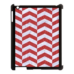 Chevron2 White Marble & Red Denim Apple Ipad 3/4 Case (black) by trendistuff
