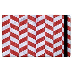 Chevron1 White Marble & Red Denim Apple Ipad 2 Flip Case by trendistuff