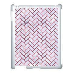 Brick2 White Marble & Red Denim (r) Apple Ipad 3/4 Case (white) by trendistuff