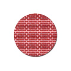 Brick1 White Marble & Red Denim Magnet 3  (round) by trendistuff