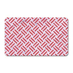 Woven2 White Marble & Red Colored Pencil (r) Magnet (rectangular) by trendistuff