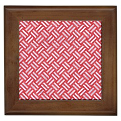 Woven2 White Marble & Red Colored Pencil Framed Tiles by trendistuff