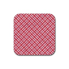 Woven2 White Marble & Red Colored Pencil Rubber Square Coaster (4 Pack)  by trendistuff