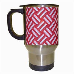 Woven2 White Marble & Red Colored Pencil Travel Mugs (white) by trendistuff