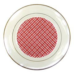 Woven2 White Marble & Red Colored Pencil Porcelain Plates by trendistuff