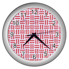 Woven1 White Marble & Red Colored Pencil (r) Wall Clocks (silver)  by trendistuff