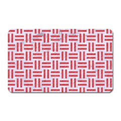 Woven1 White Marble & Red Colored Pencil (r) Magnet (rectangular) by trendistuff