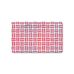 Woven1 White Marble & Red Colored Pencil (r) Magnet (name Card) by trendistuff