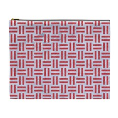Woven1 White Marble & Red Colored Pencil (r) Cosmetic Bag (xl) by trendistuff