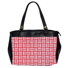 Woven1 White Marble & Red Colored Pencil Office Handbags (2 Sides)  by trendistuff