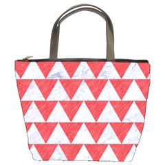 Triangle2 White Marble & Red Colored Pencil Bucket Bags by trendistuff