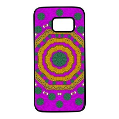 Peacock Flowers Ornate Decorative Happiness Samsung Galaxy S7 Black Seamless Case by pepitasart