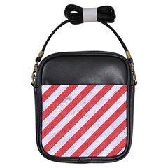 Stripes3 White Marble & Red Colored Pencil (r) Girls Sling Bags by trendistuff