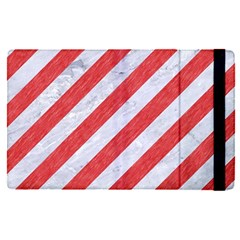 Stripes3 White Marble & Red Colored Pencil (r) Apple Ipad Pro 12 9   Flip Case