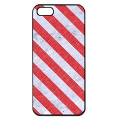 Stripes3 White Marble & Red Colored Pencil Apple Iphone 5 Seamless Case (black) by trendistuff