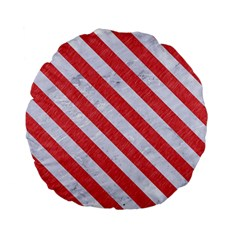 Stripes3 White Marble & Red Colored Pencil Standard 15  Premium Flano Round Cushions by trendistuff