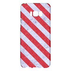 Stripes3 White Marble & Red Colored Pencil Samsung Galaxy S8 Plus Hardshell Case