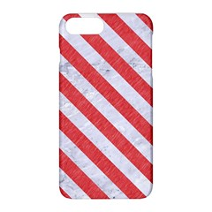Stripes3 White Marble & Red Colored Pencil Apple Iphone 8 Plus Hardshell Case