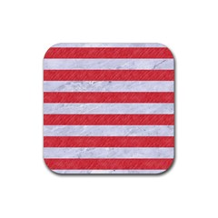Stripes2white Marble & Red Colored Pencil Rubber Square Coaster (4 Pack)  by trendistuff