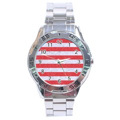 Stripes2white Marble & Red Colored Pencil Stainless Steel Analogue Watch