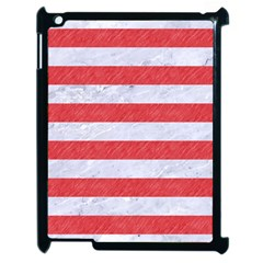 Stripes2white Marble & Red Colored Pencil Apple Ipad 2 Case (black) by trendistuff