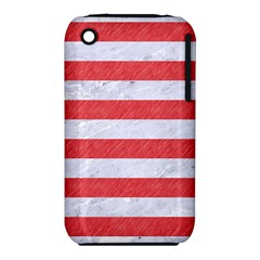 Stripes2white Marble & Red Colored Pencil Iphone 3s/3gs by trendistuff