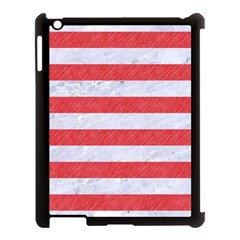 Stripes2white Marble & Red Colored Pencil Apple Ipad 3/4 Case (black) by trendistuff