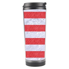 Stripes2white Marble & Red Colored Pencil Travel Tumbler by trendistuff