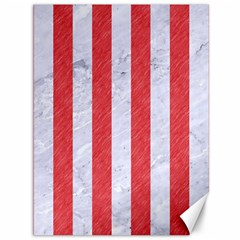 Stripes1 White Marble & Red Colored Pencil Canvas 36  X 48   by trendistuff