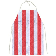 Stripes1 White Marble & Red Colored Pencil Full Print Aprons by trendistuff