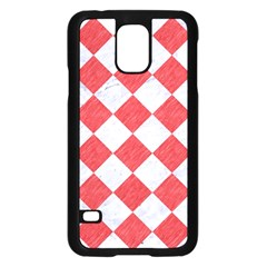 Square2 White Marble & Red Colored Pencil Samsung Galaxy S5 Case (black) by trendistuff