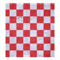 Square1 White Marble & Red Colored Pencil Shower Curtain 66  X 72  (large)  by trendistuff