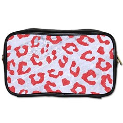 Skin5 White Marble & Red Colored Pencil Toiletries Bags 2 Side by trendistuff