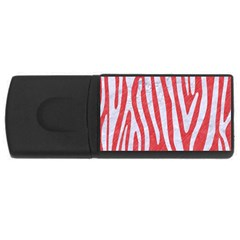Skin4 White Marble & Red Colored Pencil (r) Rectangular Usb Flash Drive by trendistuff