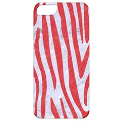 Skin4 White Marble & Red Colored Pencil Apple Iphone 5 Classic Hardshell Case by trendistuff