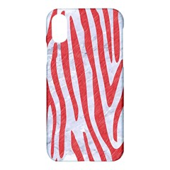 Skin4 White Marble & Red Colored Pencil Apple Iphone X Hardshell Case