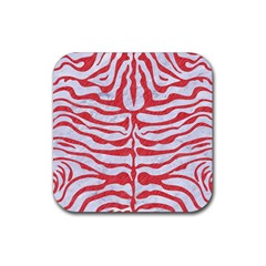 Skin2 White Marble & Red Colored Pencil (r) Rubber Square Coaster (4 Pack)  by trendistuff