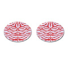 Skin2 White Marble & Red Colored Pencil (r) Cufflinks (oval) by trendistuff