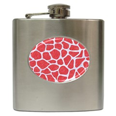 Skin1 White Marble & Red Colored Pencil (r) Hip Flask (6 Oz) by trendistuff