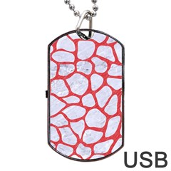 Skin1 White Marble & Red Colored Pencil Dog Tag Usb Flash (two Sides) by trendistuff
