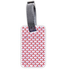 Scales3 White Marble & Red Colored Pencil (r) Luggage Tags (two Sides) by trendistuff