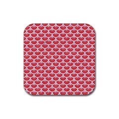 Scales3 White Marble & Red Colored Pencil Rubber Square Coaster (4 Pack)  by trendistuff